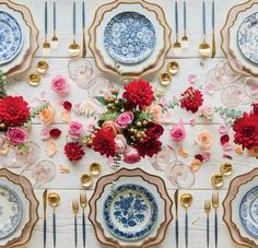 Vintage China RENT: Anna Weatherley Chargers in Desert Rose/Gold Anna Weatherley Dinnerware in White/Gold Blue Garden Collection Vintage China Bella Gold Rimmed Stemware in Blush Gold Salt Cellars Tiny Gold Spoons -