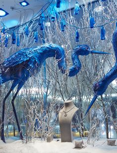 Beautiful blue—gorgeous paper designs created for this Christmas 2013 window display—Royal Jeweler, Mappin & Webb, UK—The Makerie Studio, New York, NY—Behance.net❣