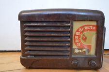 VTG Original Marconi Mantel Tube Radio Brown Bakelite Knobs Art Deco Home Decor