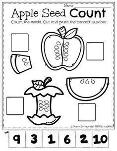 Apple Seed Counting Activity - Apple Worksheets Preschool