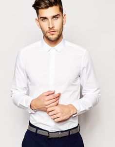 ASOS Smart Shirt In Long Sleeve With Contrast Collar £22.00