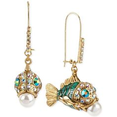 Betsey Johnson Gold-Tone Embellished Fish Earrings (510 ZAR) ❤ liked on Polyvore