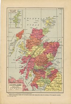 Gift for Scotland lovers. on Etsy. Vintage Maps, Antique Maps, Map Of Britain, First Wedding Anniversary Gift, Scotland Map, How To Memorize Things, Lovers, Wall Art, Antiques