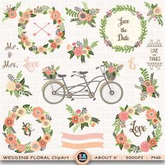 "Wedding Floral Clipart ""WEDDING CLIP ART"",Floral Bicycle,Banner, Rustic Flowers,Laurel,Flower Basket,Wedding Wreath,Wedding Bicycle. Wf089 by SAClipArt on Etsy"