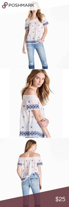 Lucky Brand Off shoulder embroidered top Off the shoulder  blouse feels effortless and airy with a smocked neckline and indigo embroidery.  Length: 20 inches Lucky Brand Tops Blouses