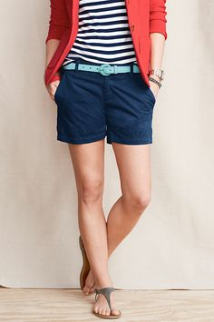 Navy Skirt, Stripe T, Red Cardigan & Aqua Belt- love the outfit, but with ballet flats :) Short Outfits, Casual Outfits, Summer Outfits, Cute Outfits, Fashion Outfits, Fashion Ideas, Chino Shorts, Denim Shorts, Navy Shorts Outfit