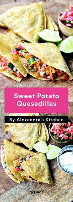 1. Sweet Potato Quesadillas #vegetarian #dinner #recipes http://greatist.com/eat/healthy-dinner-recipes-for-vegetarians