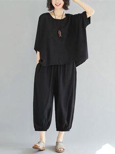 Plus size photos, plus size fashion and plus size tips Linen Dresses, Women's Dresses, Cotton Dresses, Summer Dresses, Plus Size Shorts, Plus Size Outfits, How To Wear Culottes, Hijab Style, Plus Size Kleidung