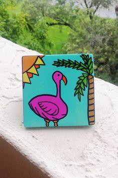 Hand Painted Ceramic Tile Turquoise Flamingo Palm by Vivian Estalella