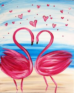 ✔ Cute Drawings Of Love Birds Love Birds Painting, Flamingo Painting, Heart Painting, Easy Canvas Painting, Diy Painting, Painting & Drawing, Canvas Art, Canvas Ideas, Canvas Paintings