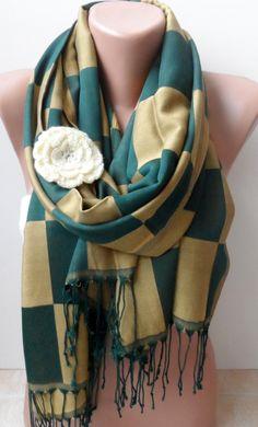 Scarf Plaid pattern scarf in gold green pashmina by elegancescarf, $21.00