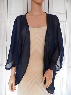 Navy blue chiffon kimono/jacket/wrap/cover-up/bolero with satin edging