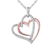 1/4 CT. T.W. Diamond Double Heart Pendant in Sterling Silver and 10K Rose Gold  Zales  Orig. $199.00