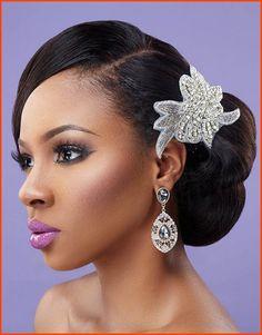 Natural Wavy side Bun wedding hairstyle for black women