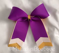 Trio  Layered Purple White Yellow/Gold Cheer Bow  on Etsy, $8.00