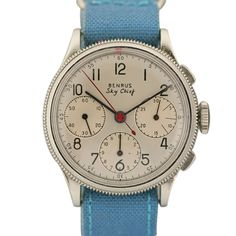 Benrus Sky Chief Vintage Chronograph Swiss 1950s. Face detail beautiful, band colour so classic.