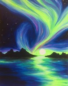 This swirling neon aurora will bring a sense of magic to your home this winter. This swirling neon aurora will bring a sense of magic to your home this winter. Neon Painting, Easy Canvas Painting, Diy Canvas Art, Painting Art, Night Sky Painting, Painting Studio, Watercolor Paintings, Cool Paintings, Sunset Paintings
