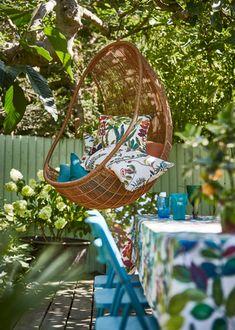 #southpacific #curtains #prestigioustextiles #fabric #textiles #summer #tropical #garden #floral #colourful #livingroom #livingroomideas #garden Prestigious Textiles, South Pacific, Tropical Garden, Hanging Chair, Curtains, Floral, Summer, Fabric, Collection