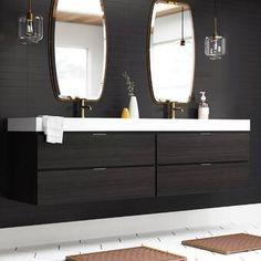"Emilie 72"" Wall-Mounted Double Bathroom Vanity Set & Reviews | AllModern Bathroom Trends, Bathroom Renovations, Bathroom Ideas, Bathrooms, Bathroom Stuff, Bathroom Inspo, Bath Ideas, Modern Bathroom Design, Bathroom Interior Design"