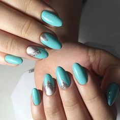 Almond-shaped nails, Evening dress nails, Evening nails, Ideas of winter nails, Romantic nails, Spring nail ideas, Turquoise nails, White and silver nails