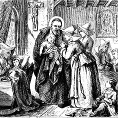 Detail of an old engraving, ca. 1880, depicts St. Vincent de Paul and the Daughters of Charity.