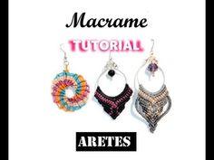Tutorial Como hacer aretes de macrame y alambre - YouTube Macrame Earrings Tutorial, Earring Tutorial, Crochet Earrings, Chevron Friendship Bracelets, Friendship Bracelets Tutorial, Macrame Knots, Macrame Bracelets, Loom Bracelets, Micro Macramé