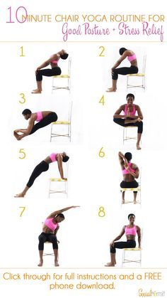10 Minute Chair Yoga Routine for Good Posture and Stress Relief | Once youre done with  sc 1 st  Pinterest & Printable Chair Yoga Routines | chair yoga for seniors at bristol ...