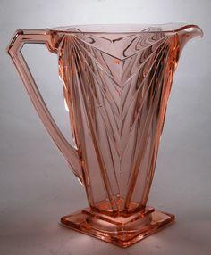 Rare ART DECO Depression Glass PITCHER Indiana Glass Company PYRAMID # 610 PINK