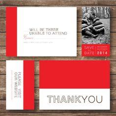 Printable Color Block Wedding Invitation Suite