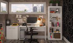 Conjunto Home Office com Estante, Mesa para Computador, Suporte para CPU e Balcão Branco - Caaza