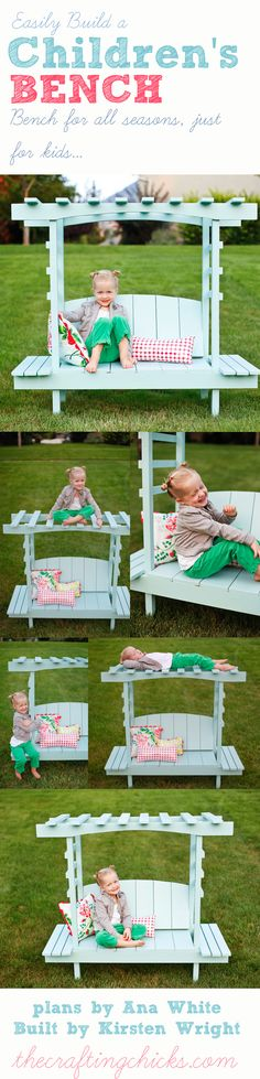 One of my favs! Free plans for a kids bench with arbor from ana-white.com