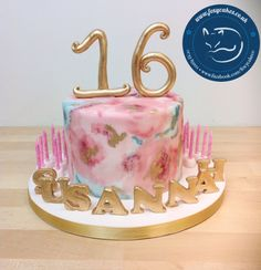 Watercolour and gold cake, made by The Foxy Cake Co!