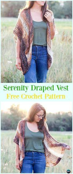Crochet Serenity Draped Vest Free Pattern - #Crochet; Women #Vest; Free Patterns