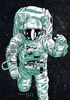 """""""Astronaut"""" Graphic/Illustration by Guilherme Theodore posters, art prints, canvas prints, greeting cards or gallery prints. Find more Graphic/Illustration art prints and posters in the ARTFLAKES s. Astronaut Illustration, Space Illustration, Illustrations, Art Tumblr, Astronauts In Space, Man On The Moon, Cool Art, Concept Art, Artwork"""