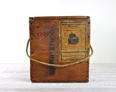 Vintage Wood Box with Sliding Lid and Rope Handle by havenvintage.