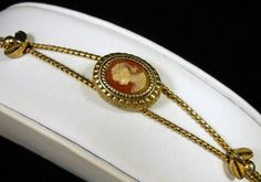 """Vintage Goldette Cameo Rope Style Link Bracelet Gold Tone 7""""L Very Pretty! $38.00 SOLD"""