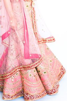 Beautiful Pink and Gold Bridal Theme | Zari Work and Resham Embroidery Peach Coral Bridal Lehenga with Circular Flare]