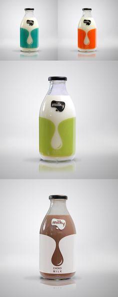 Packaging de produits - Bouteilles de lait aromatisées