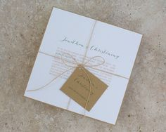 Simply Natural Olive Green Christening Invitation