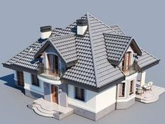 DOM.PL™ - Projekt domu DM Śnieżka K CE - DOM GM2-59 - gotowy koszt budowy Roof Design, Exterior Design, Interior And Exterior, Village House Design, Village Houses, House Outside Design, Civil Construction, House Design Pictures, Plans Architecture