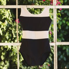 Sometimes you just need a bright, bold, clean-cut dance class leotard, and this black and white SPICE style from Luckyleo is the essence of a modern look for class.