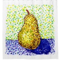 #Dotted Watercolor Painting with Pear Shower Curtain - #Bathroom #Accessories #home #living
