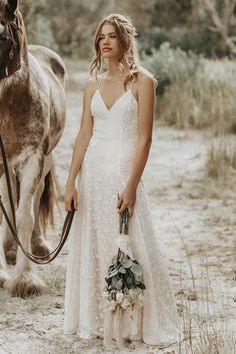 Shop affordable Lace Spaghetti V-neck Sheath Wedding Gown With Straps And Open Back at June Bridals! Over 8000 Chic wedding, bridesmaid, prom dresses & more are on hot sale. Boho Wedding Dress Bohemian, Bohemian Style, Bohemian Weddings, Indian Weddings, Affordable Wedding Dresses, Elegant Dresses, Bridal Gowns, Wedding Gowns, Lace Wedding