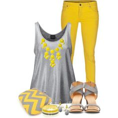 Yellow Grey Outfit