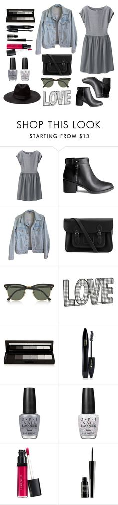 """Lovely Outfit"" by ines1583 ❤ liked on Polyvore featuring Uniqlo, H&M, American Apparel, The Cambridge Satchel Company, Ray-Ban, shu uemura, Lancôme, OPI, Laura Geller and Lord & Berry"