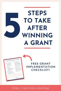 What you do after you win a grant is critical to helping you keep your funding. Click through to read about the 5 steps you should take after you win a grant. Grant Proposal Writing, Grant Writing, Nonprofit Fundraising, Fundraising Ideas, Free Grants, Business Writing, Work Inspiration, Non Profit, Finance