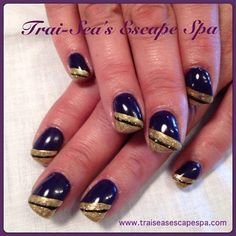 Royal Purple with gold accents by TraiSeasEscape from Nail Art Gallery