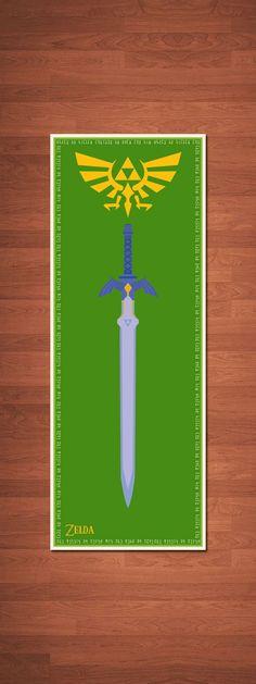 "Legend of Zelda Poster - 9"" x 24"". $14.99, via Etsy. // big boys room"