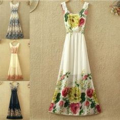 New Arrival Summer Women Dress Sexy Chiffon Vintage Fashion Print Ladies Long Dresses