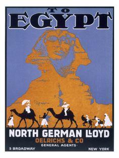 Egypt, Poster Advertising Norddeutscher Lloyd
